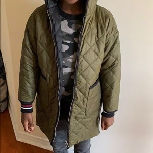 Zara long line quilted jacket